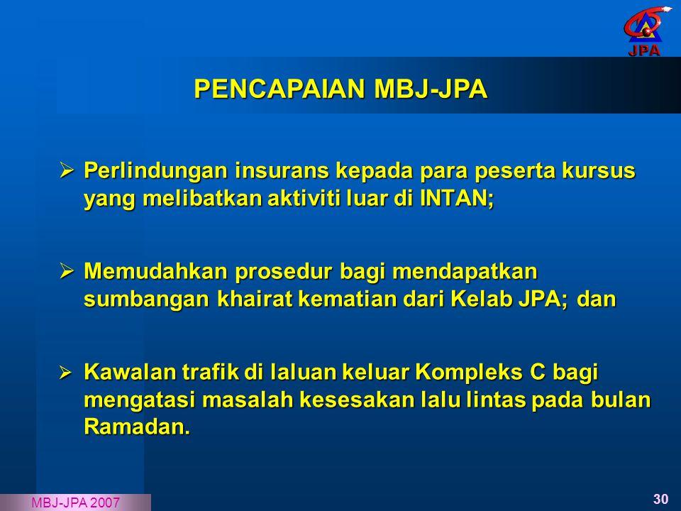 30 MBJ-JPA 2007  Perlindungan insurans kepada para peserta kursus yang melibatkan aktiviti luar di INTAN;  Memudahkan prosedur bagi mendapatkan sumb
