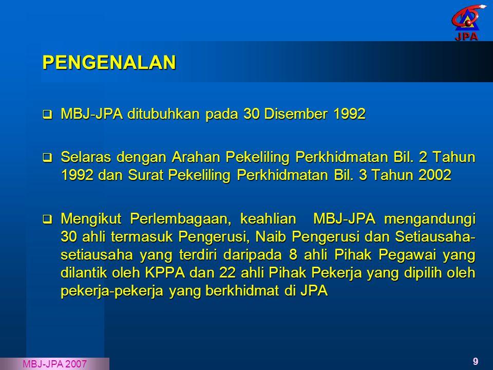 9 MBJ-JPA 2007  MBJ-JPA ditubuhkan pada 30 Disember 1992  Selaras dengan Arahan Pekeliling Perkhidmatan Bil. 2 Tahun 1992 dan Surat Pekeliling Perkh