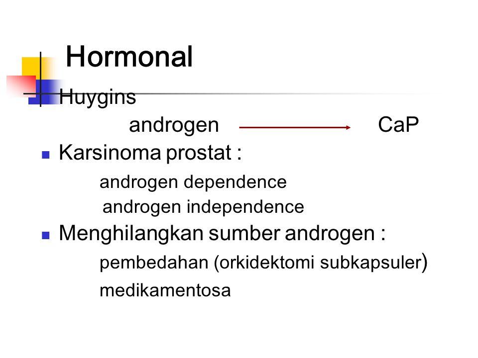 Terapi Tergantung usia dan stadium keganasan Observasi (watchfull waiting) Prostatektomi radikal Radiasi eksterna Hormonal Terapi gen