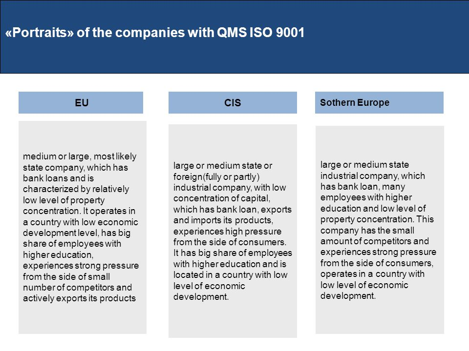 «Portraits» of the companies with QMS ISO 9001 EUCIS Sothern Europe medium or large, most likely state company, which has bank loans and is characterized by relatively low level of property concentration.