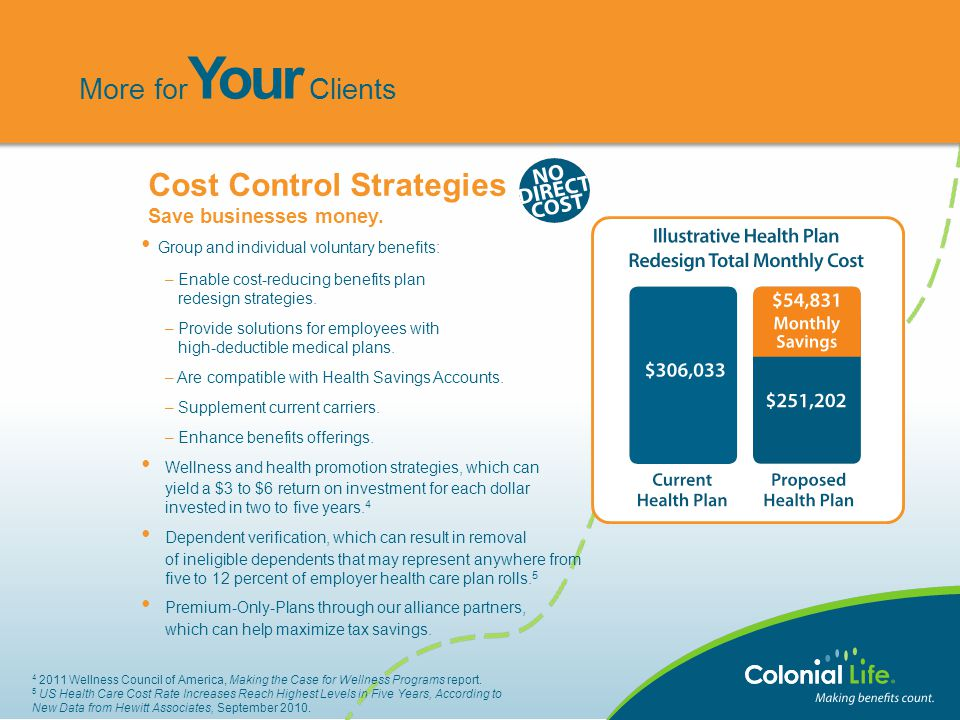 Group and individual voluntary benefits: – Enable cost-reducing benefits plan redesign strategies. – Provide solutions for employees with high-deducti
