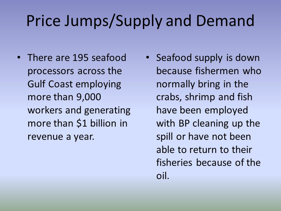 Price Jumps/Supply and Demand There are 195 seafood processors across the Gulf Coast employing more than 9,000 workers and generating more than $1 bil