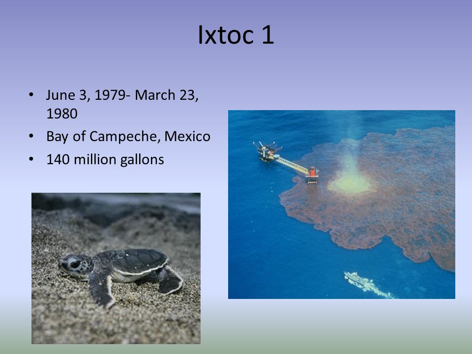 Ixtoc 1 June 3, 1979- March 23, 1980 Bay of Campeche, Mexico 140 million gallons