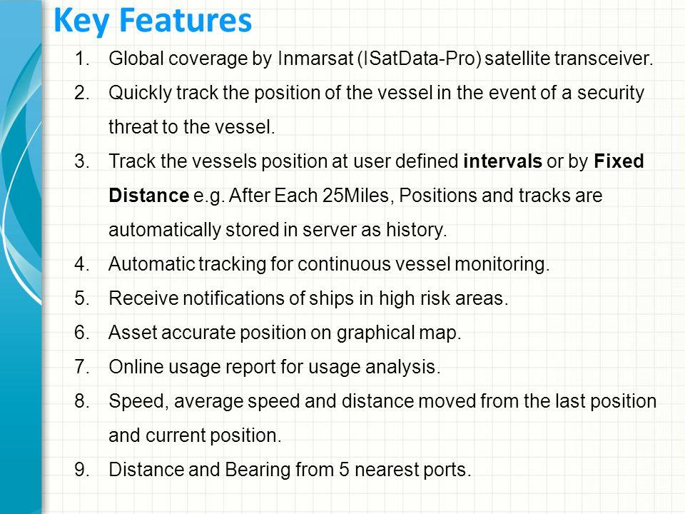 1.Global coverage by Inmarsat (ISatData-Pro) satellite transceiver.