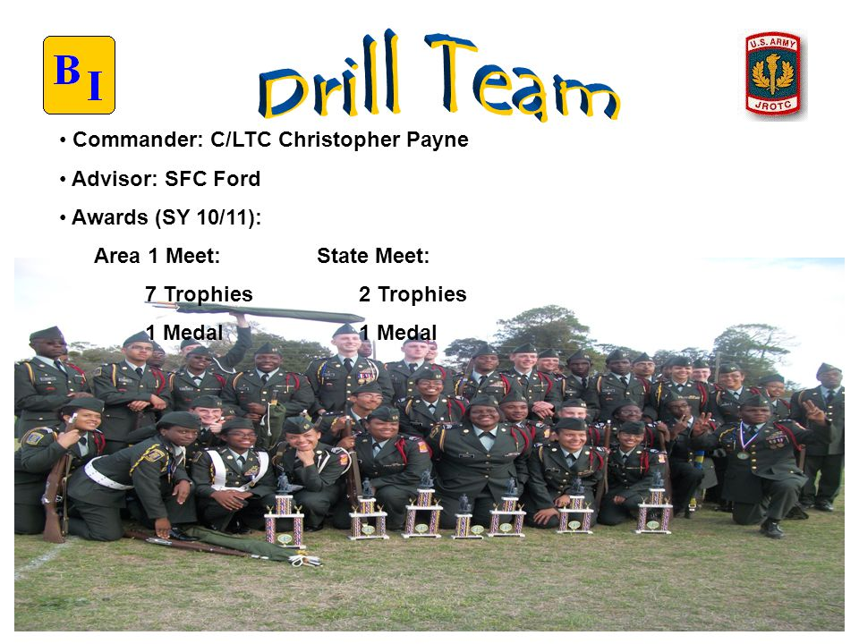 Commander: C/LTC Christopher Payne Advisor: SFC Ford Awards (SY 10/11): Area 1 Meet: State Meet: 7 Trophies 2 Trophies 1 Medal