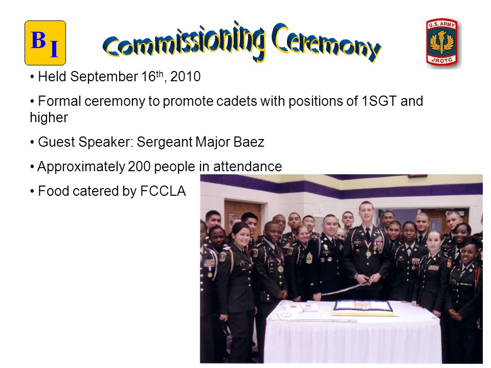 Held September 16 th, 2010 Formal ceremony to promote cadets with positions of 1SGT and higher Guest Speaker: Sergeant Major Baez Approximately 200 pe