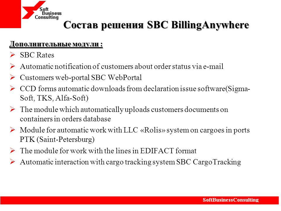 Состав решения SBC BillingAnywhere Дополнительные модули :  SBC Rates  Automatic notification of customers about order status via e-mail  Customers