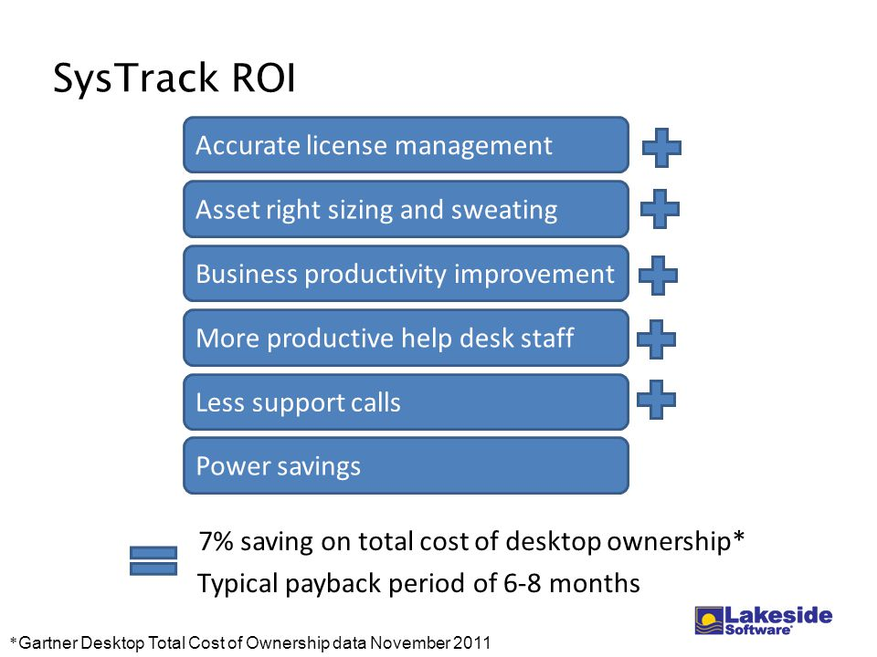 SysTrack ROI 7% saving on total cost of desktop ownership* * Gartner Desktop Total Cost of Ownership data November 2011 Accurate license management Asset right sizing and sweating Less support calls Business productivity improvement More productive help desk staff Typical payback period of 6-8 months Power savings