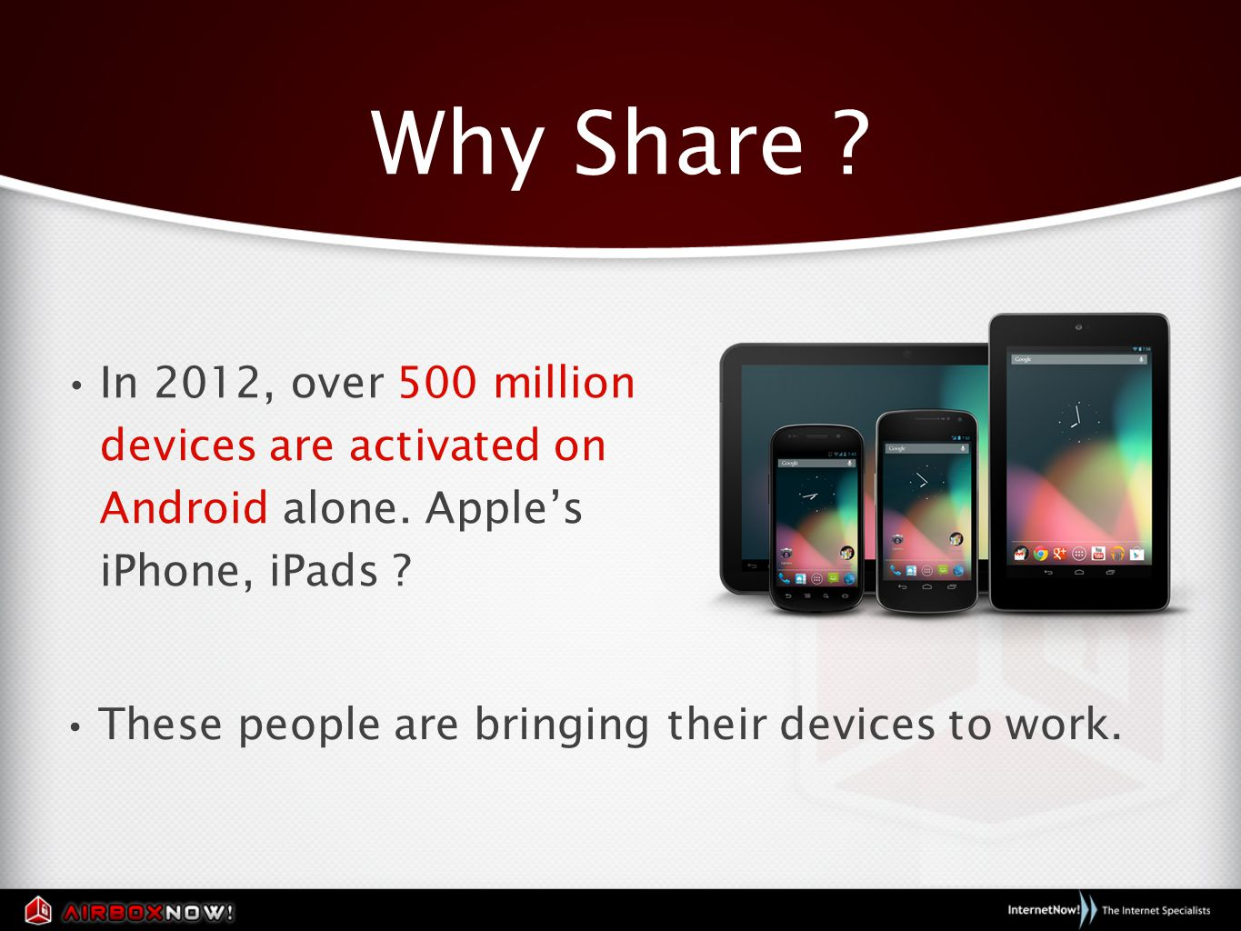 Why Share . In 2012, over 500 million devices are activated on Android alone.