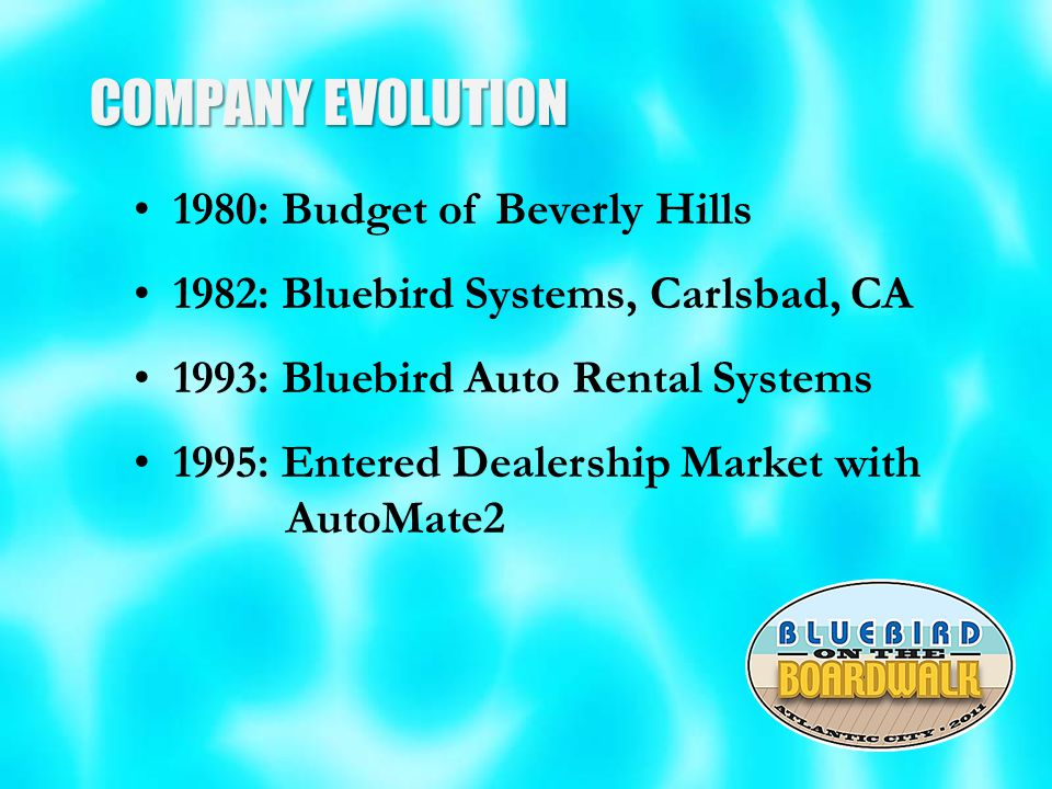 COMPANY EVOLUTION 1980: Budget of Beverly Hills 1982: Bluebird Systems, Carlsbad, CA 1993: Bluebird Auto Rental Systems 1995: Entered Dealership Market with AutoMate2