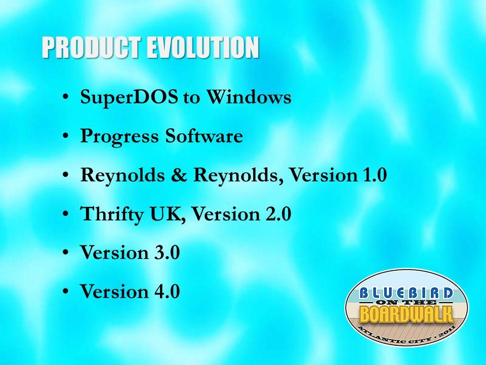 PRODUCT EVOLUTION SuperDOS to Windows Progress Software Reynolds & Reynolds, Version 1.0 Thrifty UK, Version 2.0 Version 3.0 Version 4.0
