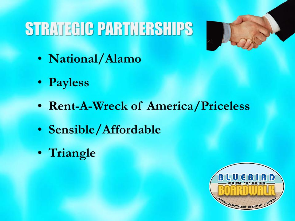 STRATEGIC PARTNERSHIPS National/Alamo Payless Rent-A-Wreck of America/Priceless Sensible/Affordable Triangle