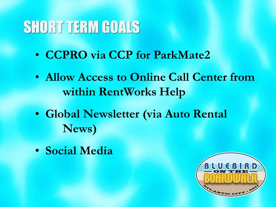 SHORT TERM GOALS CCPRO via CCP for ParkMate2 Allow Access to Online Call Center from within RentWorks Help Global Newsletter (via Auto Rental News) Social Media