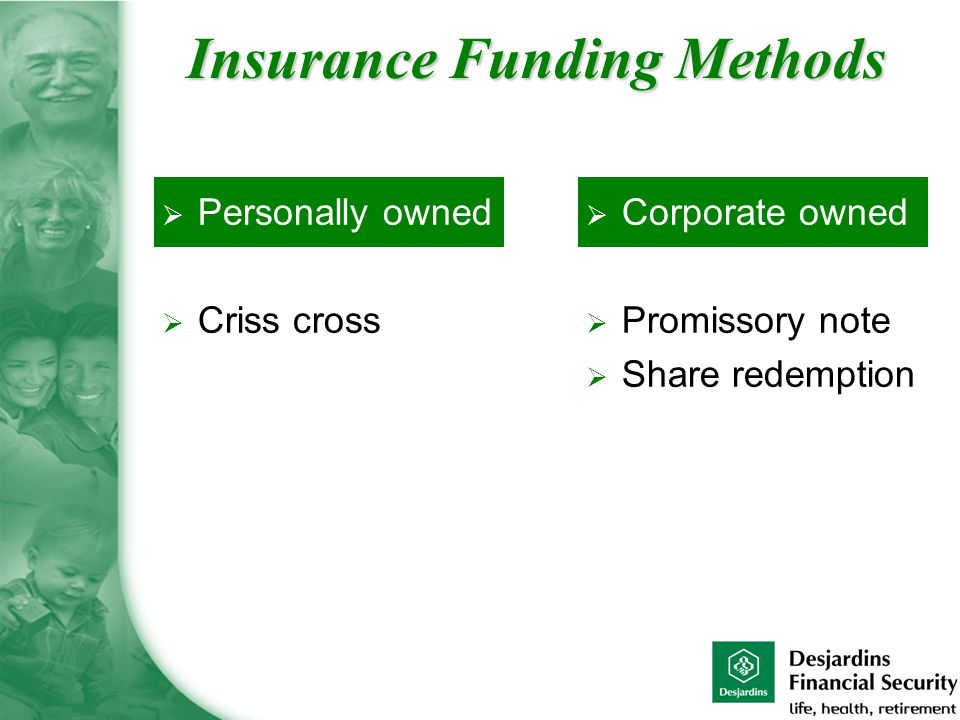  Personally owned  Criss cross  Corporate owned  Promissory note  Share redemption Insurance Funding Methods