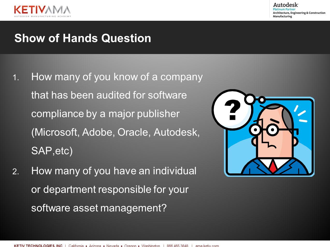 Title KETIV TECHNOLOGIES, INC | California  Arizona  Nevada  Oregon  Washington | 866.465.3848 | ama.ketiv.com Show of Hands Question 1.