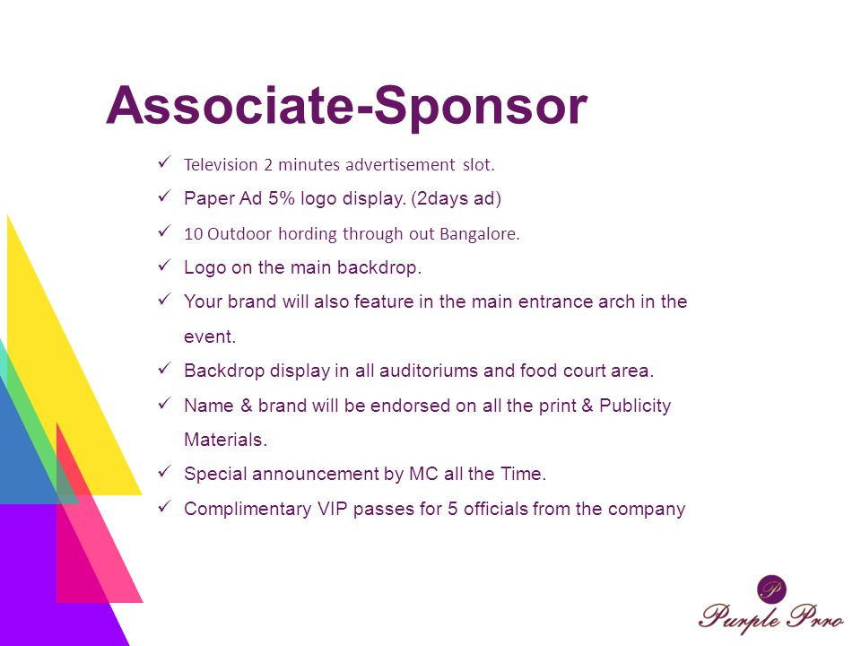 Associate-Sponsor Television 2 minutes advertisement slot. Paper Ad 5% logo display. (2days ad) 10 Outdoor hording through out Bangalore. Logo on the