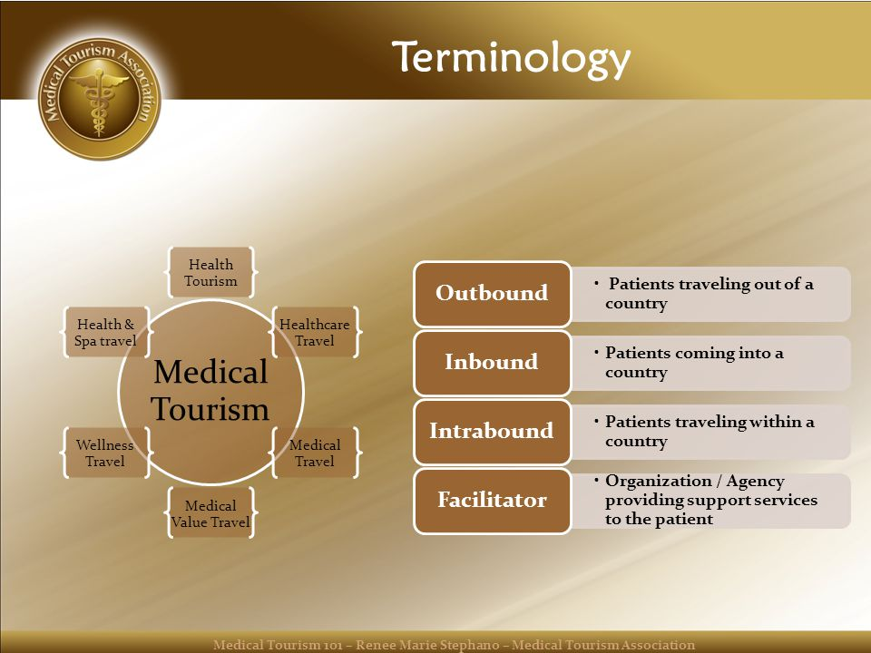 Medical Tourism 101 – Renee Marie Stephano – Medical Tourism Association Terminology Medical Tourism Health Tourism Healthcare Travel Medical Travel Medical Value Travel Wellness Travel Health & Spa travel Patients traveling out of a country Outbound Patients coming into a country Inbound Patients traveling within a country Intrabound Organization / Agency providing support services to the patient Facilitator