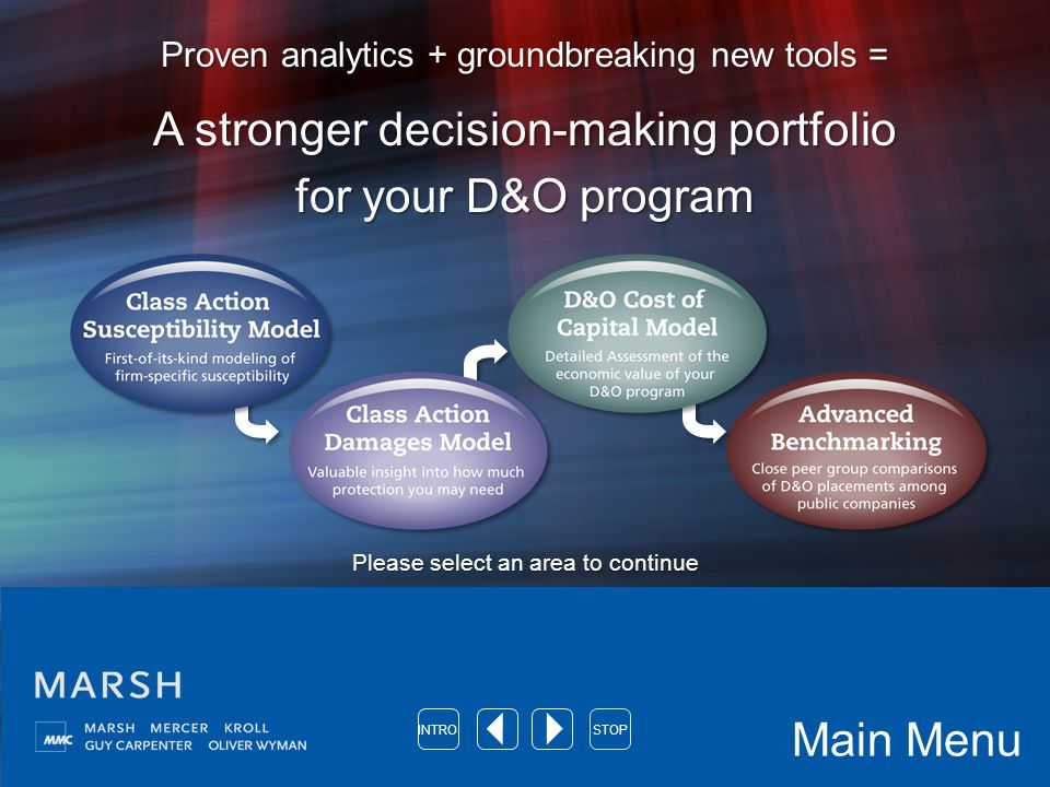 Proven analytics + groundbreaking new tools = A stronger decision-making portfolio for your D&O program Please select an area to continue Main Menu INTROSTOP