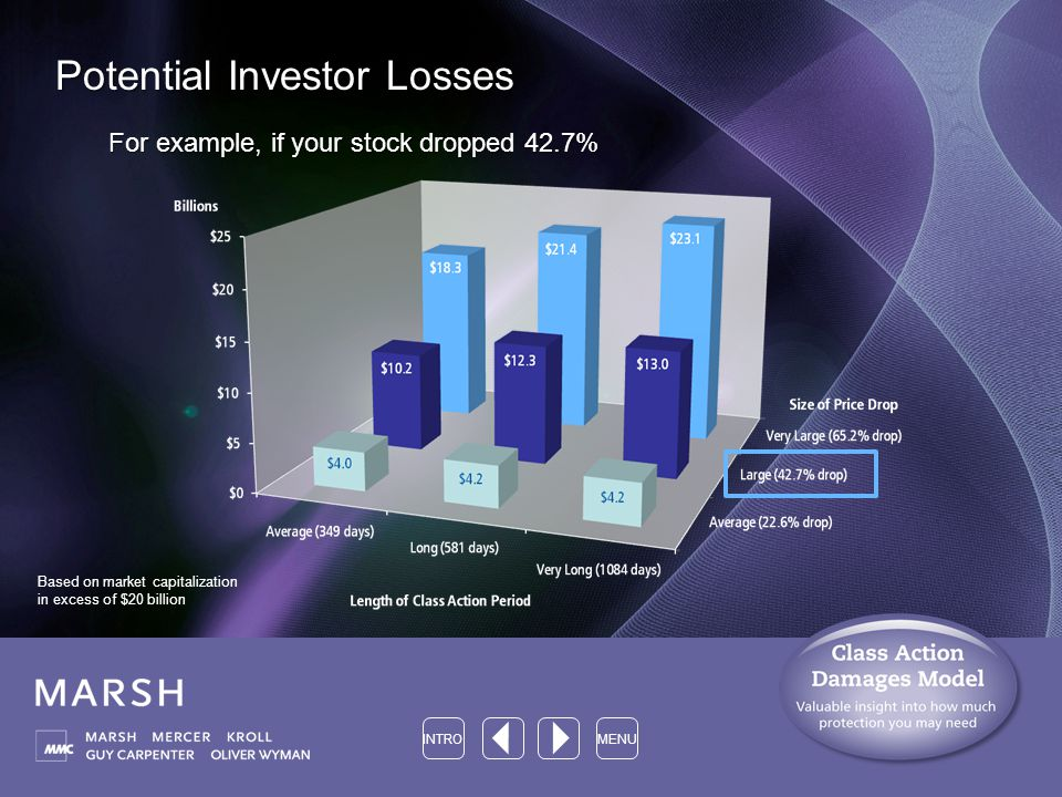 Potential Investor Losses For example, if your stock dropped 42.7% INTROMENU Based on market capitalization in excess of $20 billion