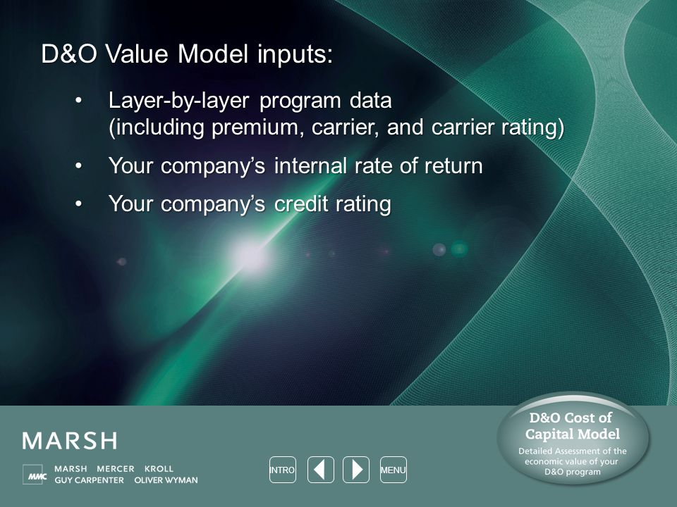 D&O Value Model inputs: Layer-by-layer program data (including premium, carrier, and carrier rating)Layer-by-layer program data (including premium, carrier, and carrier rating) Your company's internal rate of returnYour company's internal rate of return Your company's credit ratingYour company's credit rating MENUINTRO