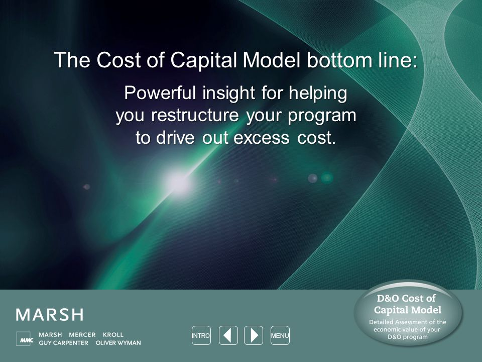 The Cost of Capital Model bottom line: Powerful insight for helping you restructure your program to drive out excess cost.
