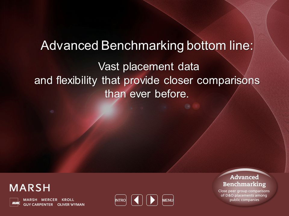 Advanced Benchmarking bottom line: Vast placement data and flexibility that provide closer comparisons than ever before.