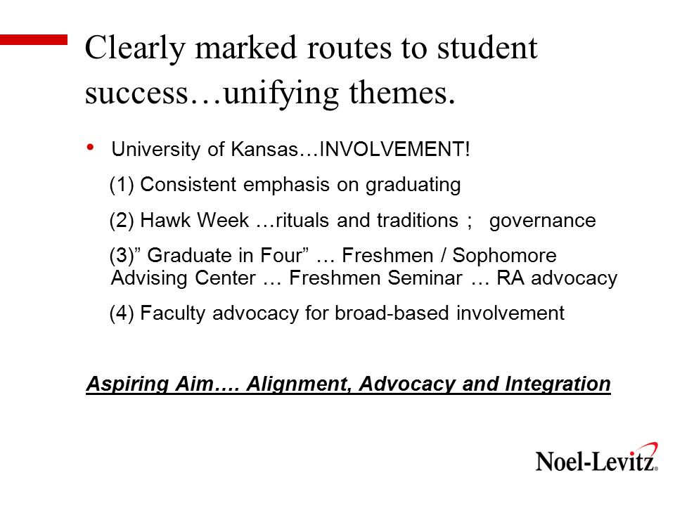 Clearly marked routes to student success…unifying themes.