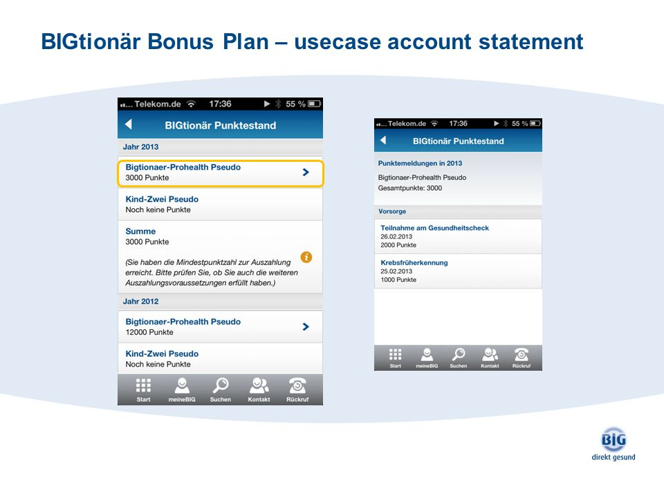 BIGtionär Bonus Plan – usecase account statement