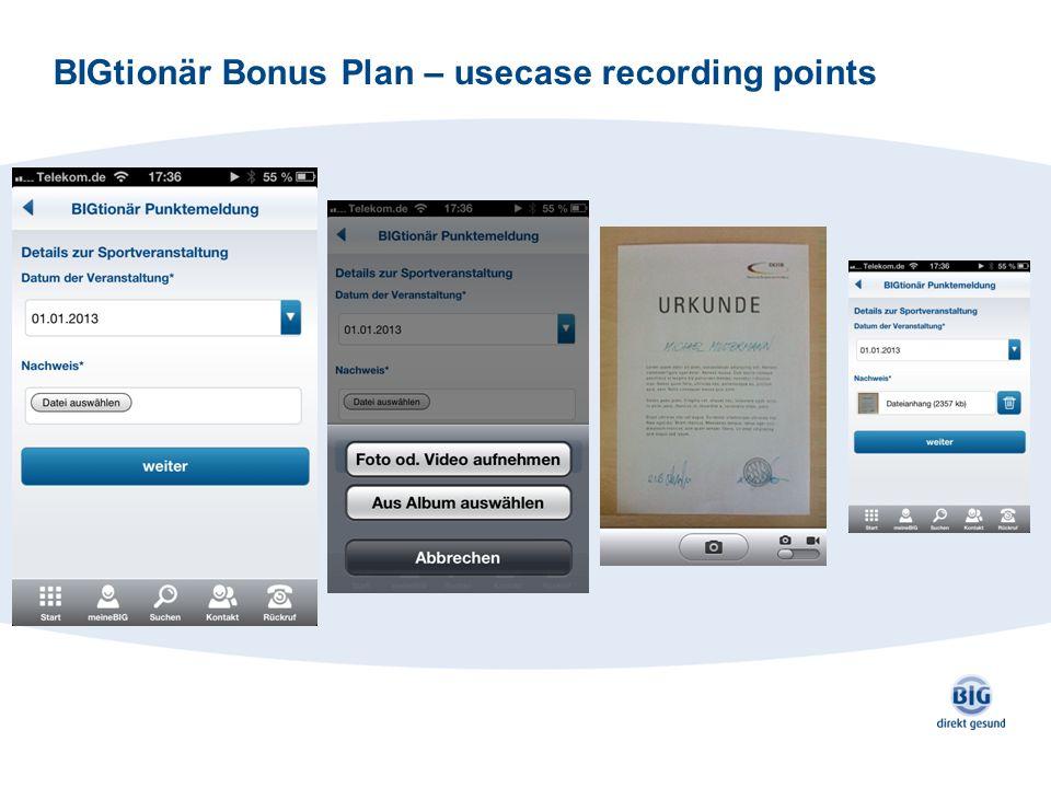 BIGtionär Bonus Plan – usecase recording points