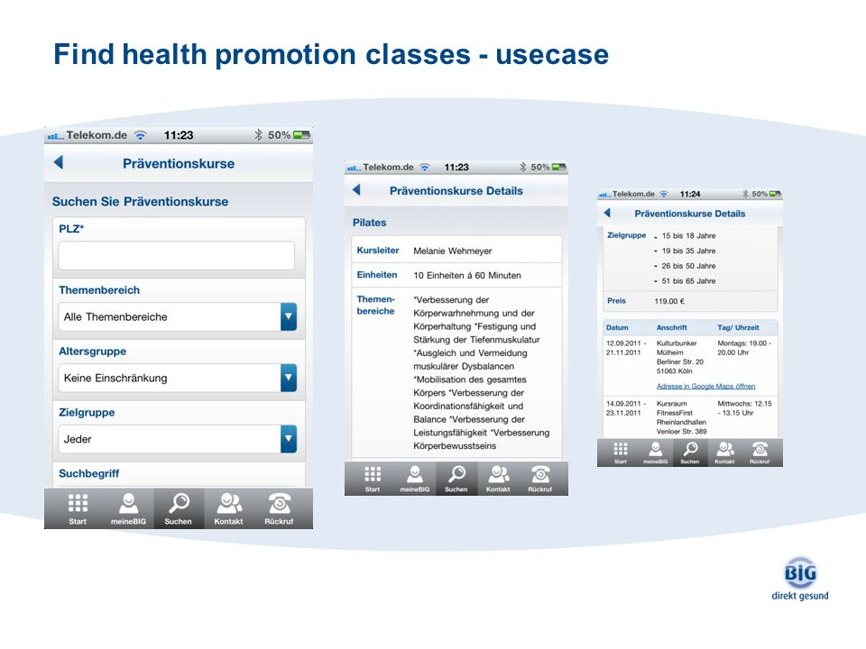Find health promotion classes - usecase