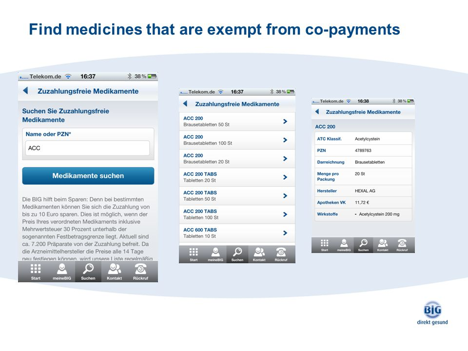 Find medicines that are exempt from co-payments