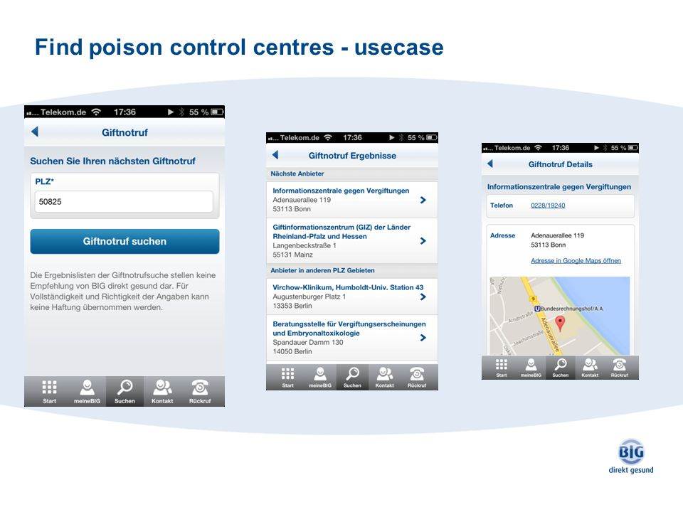 Find poison control centres - usecase