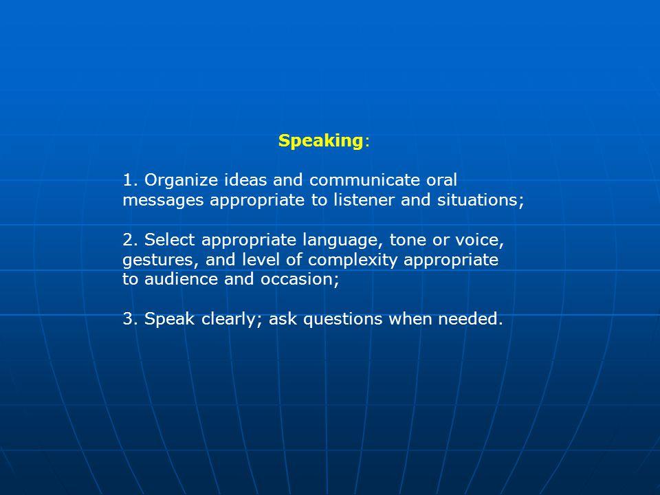 Speaking: 1.