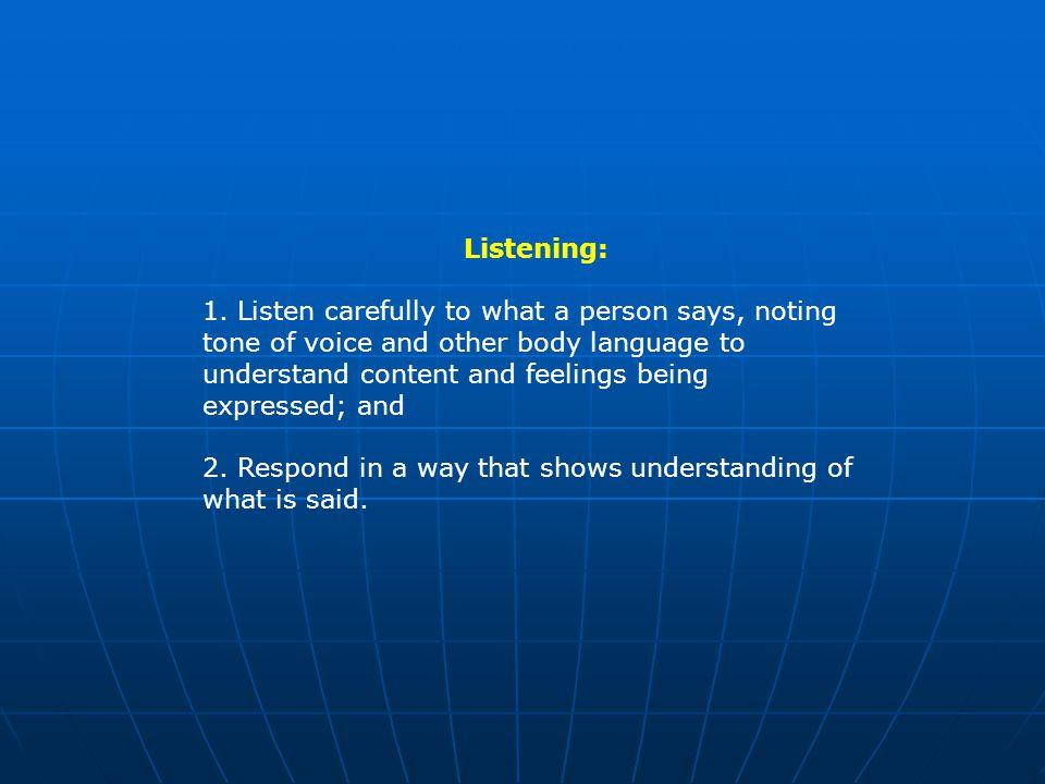 Listening: 1.