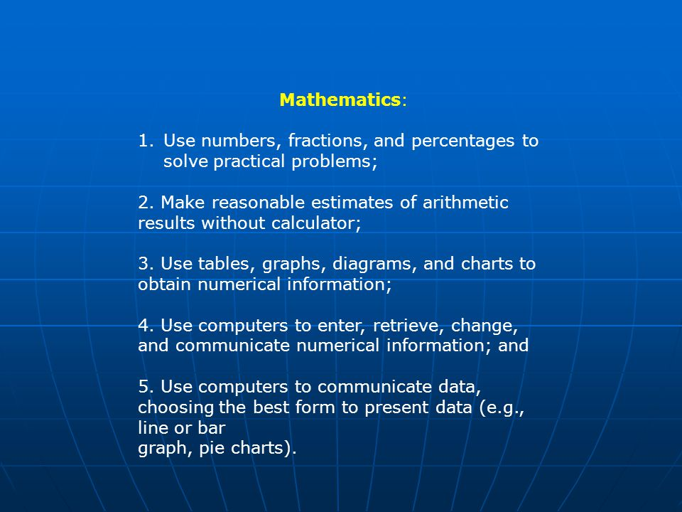 Mathematics: 1.Use numbers, fractions, and percentages to solve practical problems; 2.