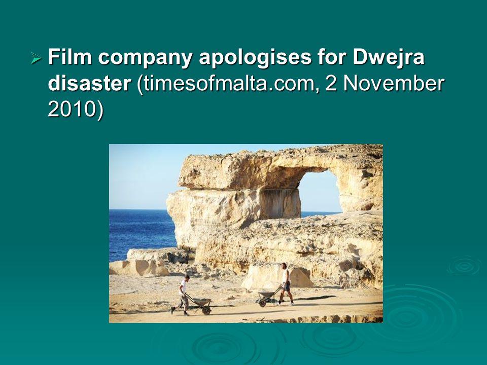  Film company apologises for Dwejra disaster (timesofmalta.com, 2 November 2010)