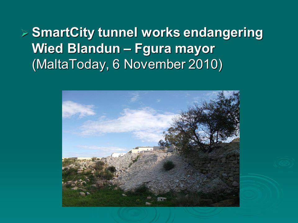  SmartCity tunnel works endangering Wied Blandun – Fgura mayor (MaltaToday, 6 November 2010)