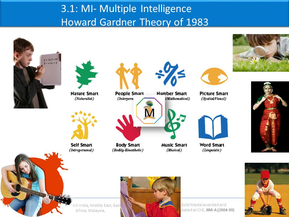 Gold Medal awarded and Incubated at CIIE, IIM-A (2004-09) Present in India, Middle East, East Africa, Malaysia, 3.1: MI- Multiple Intelligence Howard Gardner Theory of 1983