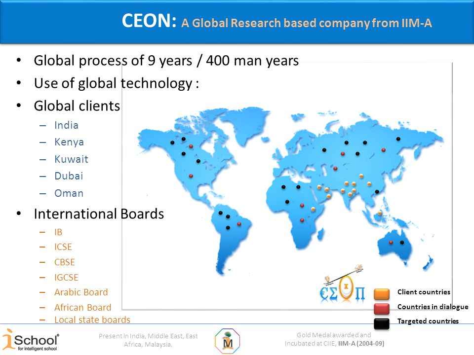 Gold Medal awarded and Incubated at CIIE, IIM-A (2004-09) Present in India, Middle East, East Africa, Malaysia, CEON: A Global Research based company from IIM-A Global process of 9 years / 400 man years Use of global technology : Global clients – India – Kenya – Kuwait – Dubai – Oman International Boards – IB – ICSE – CBSE – IGCSE – Arabic Board – African Board Client countries Targeted countries Countries in dialogue – Local state boards