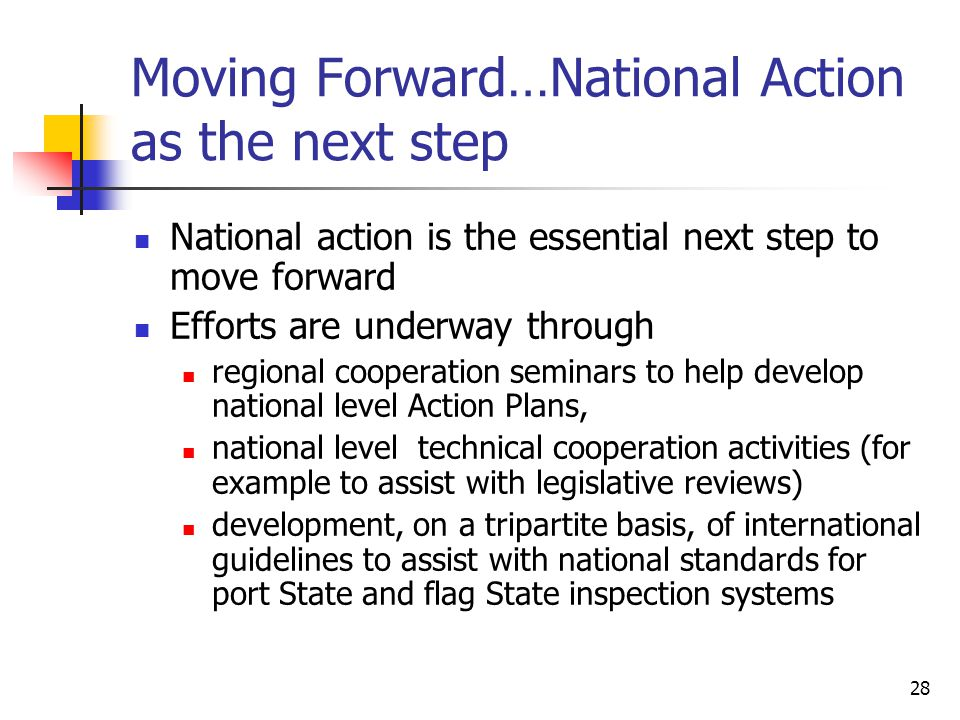 28 Moving Forward…National Action as the next step National action is the essential next step to move forward Efforts are underway through regional co