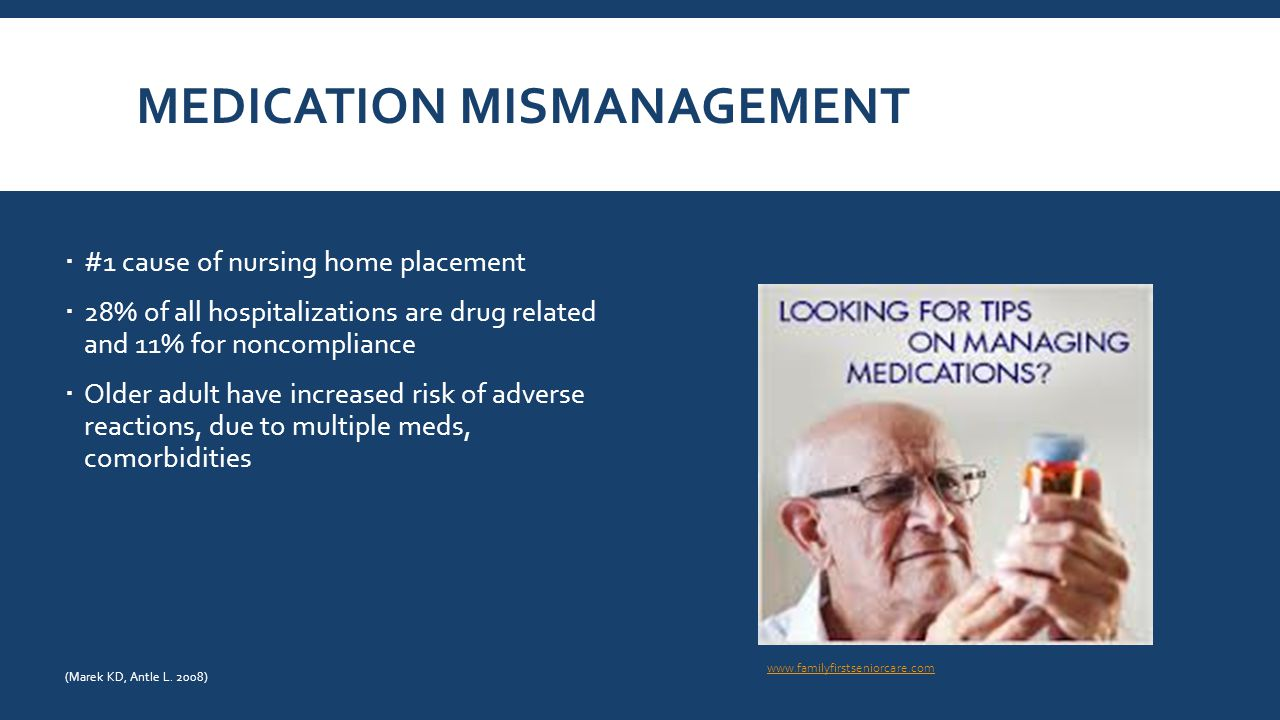 MEDICATION MISMANAGEMENT  #1 cause of nursing home placement  28% of all hospitalizations are drug related and 11% for noncompliance  Older adult have increased risk of adverse reactions, due to multiple meds, comorbidities www.familyfirstseniorcare.com (Marek KD, Antle L.