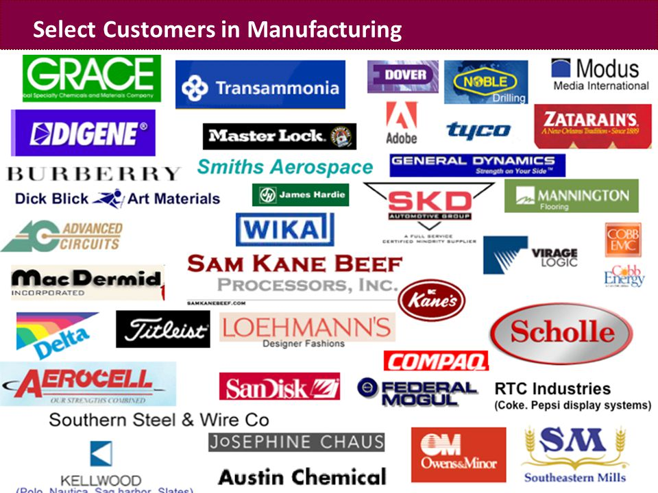 www.fatpipeinc.com Select Customers in Manufacturing
