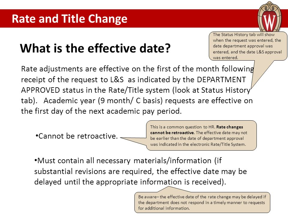 What is the effective date.Rate and Title Change Cannot be retroactive.