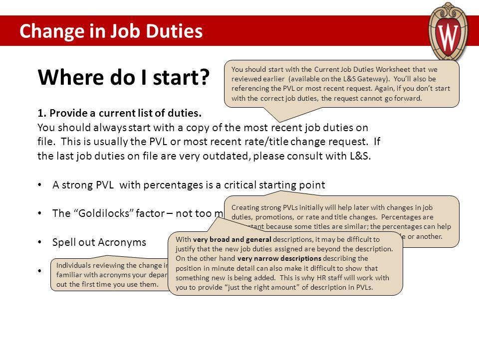 Where do I start.1. Provide a current list of duties.