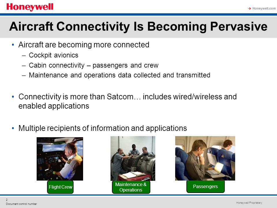 Honeywell Proprietary Honeywell.com  2 Document control number Aircraft Connectivity Is Becoming Pervasive Aircraft are becoming more connected –Cock