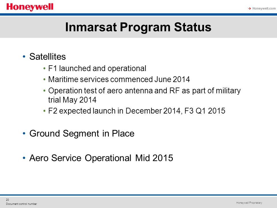 Honeywell Proprietary Honeywell.com  20 Document control number Inmarsat Program Status Satellites F1 launched and operational Maritime services comm