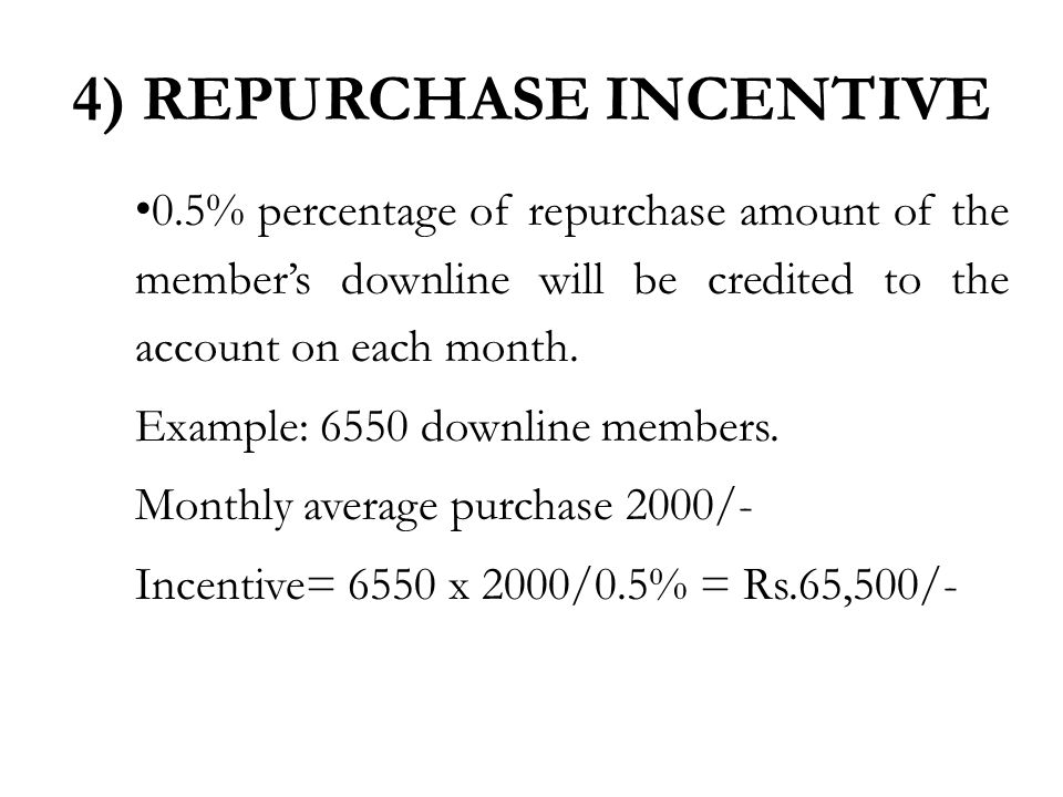 0.5% percentage of repurchase amount of the member's downline will be credited to the account on each month.