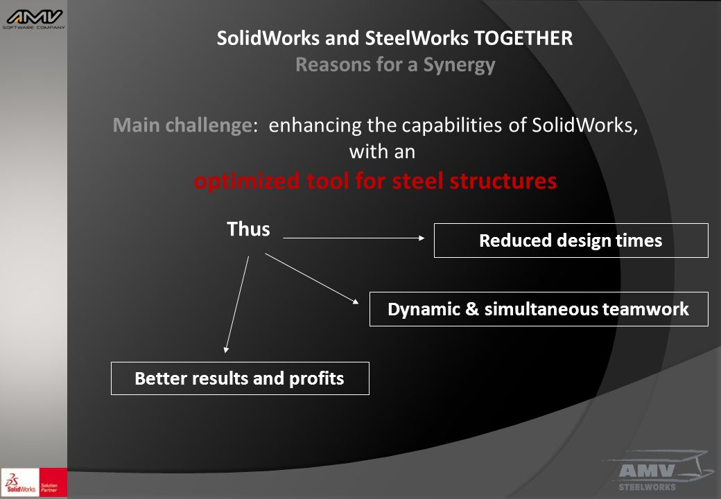 SolidWorks and SteelWorks TOGETHER Reasons for a Synergy Main challenge: enhancing the capabilities of SolidWorks, with an optimized tool for steel structures Thus Reduced design times Dynamic & simultaneous teamwork Better results and profits