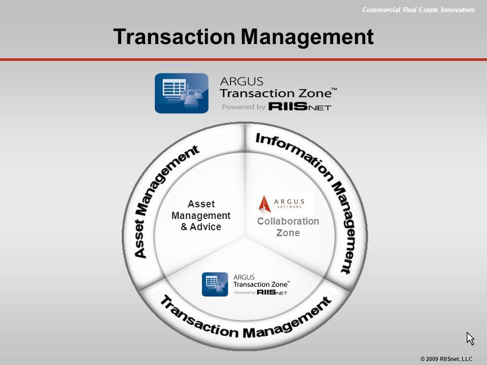 Commercial Real Estate Innovators © 2009 RIISnet, LLC Collaboration Zone Transaction Management Asset Management & Advice