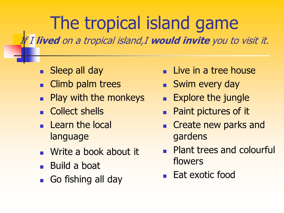 The tropical island game If I lived on a tropical island,I would invite you to visit it.